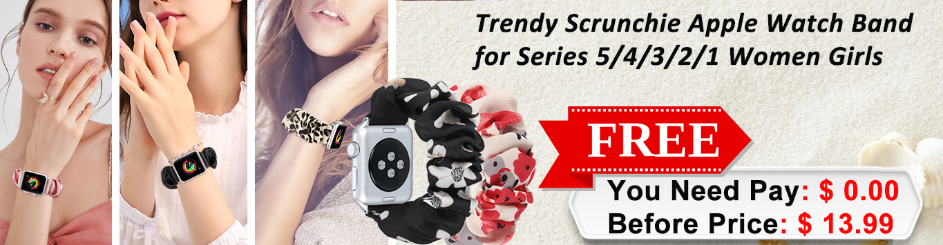 Scrunchie Apple Watch Band Series 5/4 38mm/40mm, Women Girls Gift Elastic Bracelet Sport Strap Stretchy Soft Fabric Replacement Wristbands for Iwatch 3/2/1 42mm/44mm Accessories