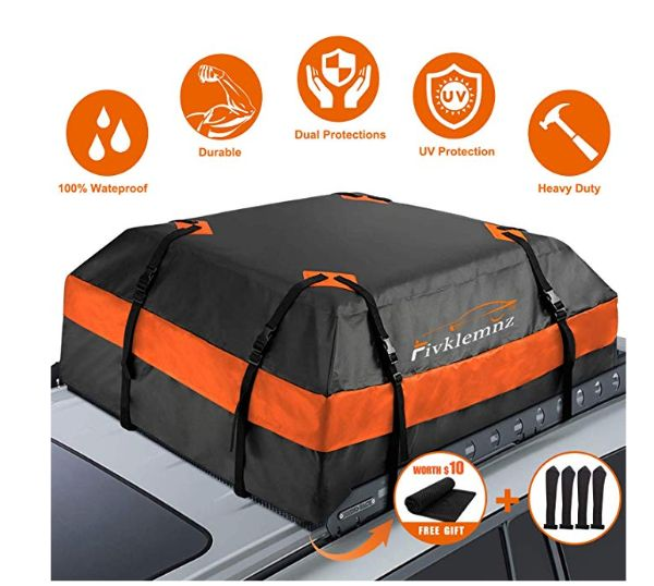 FIVKLEMNZ Car Roof Bag Cargo Carrier 8 Reinforced Straps 4 Door Hooks Suitable for All Vehicle with//Without Rack 15 Cubic Feet Waterproof Rooftop Cargo Carrier with Anti-Slip Mat